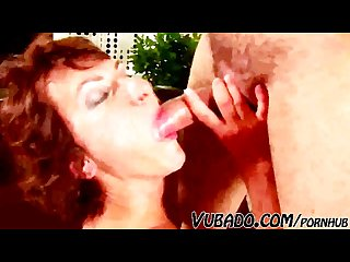 Horny mature milf sucks him hard