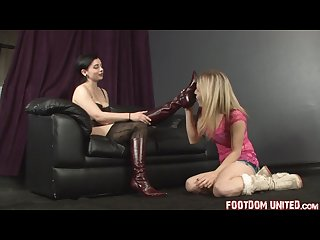 Blonde licks brunette knee high boots