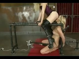 Girl blocked in machine lick mistress pussy