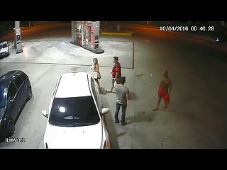 Married police officer sucks off shirtless Drunk at a gas station in brazil