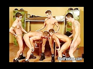 6 guys in hot military gay sex orgy