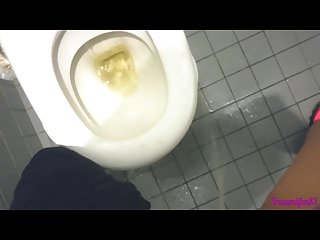 Milf making a mess in public Toilet pissing on floor and on Toilet