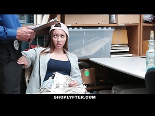 Shoplyfter cute teen fucks her way out of trouble