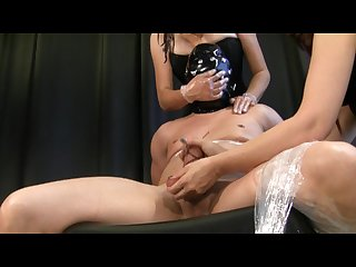 Femdoms smother latex bagging choking handjob