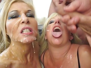 Twin milf bukkake british blondes are cum covered