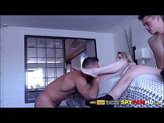 Kinky dude watches girlfriend fuck her stepdad