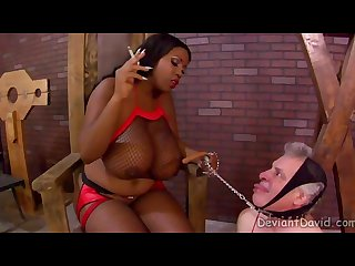 Huge titted smoking black babe making some old white chump her dog