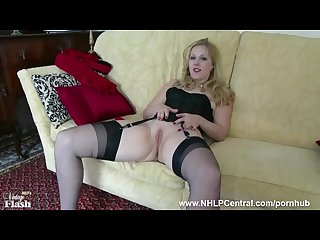 Blonde aston wilde teases vintage lingerie heels nylon strips panties wanks
