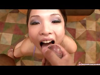Busty mia rider slurps and swallows