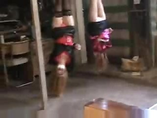 Two girls upside down bondage