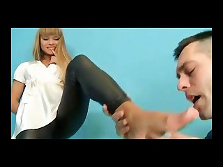 Gorgeous russian blonde gets fucked in wetlook Leggings