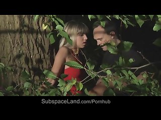 Hot blonde bound and hard assfucked in the woods