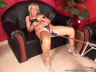 Dirty blonde sucks cock and fucks a machine