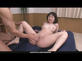 Two older guys pound hina maeda s shaved pussy