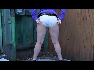 Russian girl Peeing in white panties