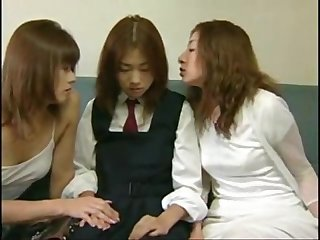 Japanese lesbian perverts seduce schoolgirl for rough threesome sex