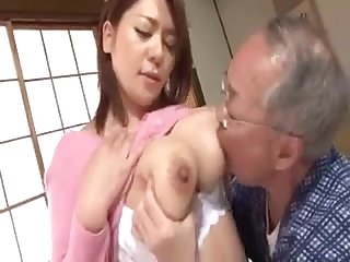 Japs big boobs girl and a old man