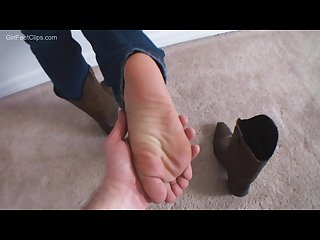 Footworship fresh from her boots