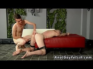 Hard hairless bondage gay fucked and milked of a load