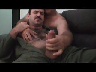 Hairy daddy milked handjob cum