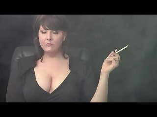 Azura smoking brunette with big tits