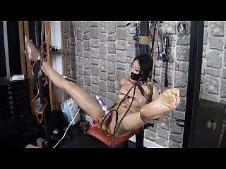 Tied up then masturbate using dildos and hard fucking