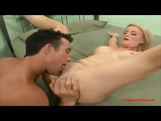 Sexy hot blond geting fuck head by white big cock in front her husband and