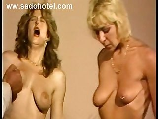 Two hot and horny slave pulled on their nipples spanked on their ass and boobs by german master