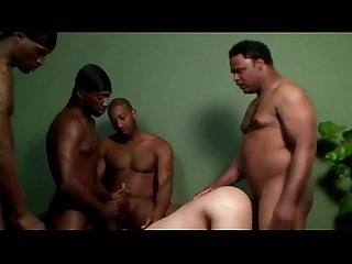White guys gets ass fucked by black cock and waits for bukkake
