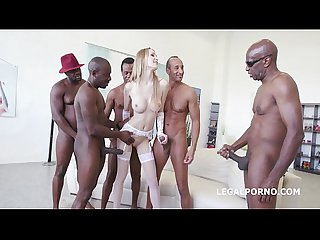 5on1 interracial tall glamour babe belle claire dap with bbc and 5 swallows