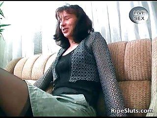 Horny brunette milf massage her twat