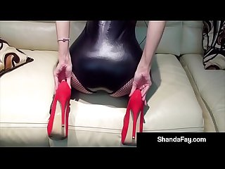 Hot housewife shanda fay gets horny with red fuck me shoes