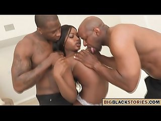black girl with small tits gets a hardcore threesome
