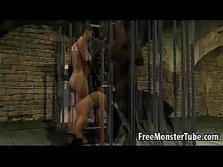 3d babe sucks cock and gets fucked by a werewolf