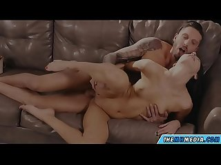The brunette with small tits loves romantic sex