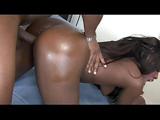 Beautiful young ebony sucks and fucks a black hunk until she gets facial