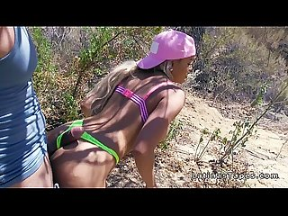 Huge boobs latina bangs in wilderness outdoors