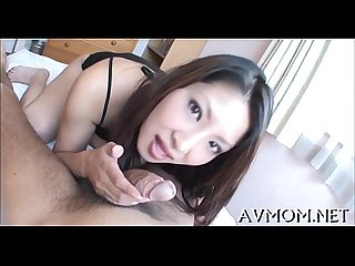 Lengthy hairy asian deepthroat act