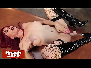 Solo redhead tgirl analfucked by sex machine
