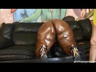 BBW Ms Marshae puke fucked & gets pounded hard by white guy