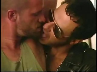 Hard bodied muscled studs in leather pounding anal hardcore in bar