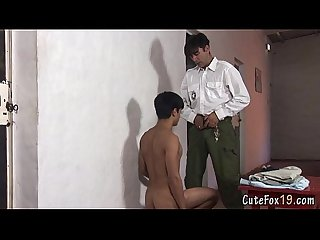 Sexy prisoner blows his old gay warden
