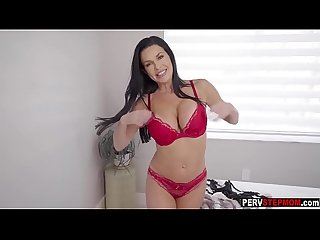 Busty MILF stepmom shows lingerie and got his fat dick