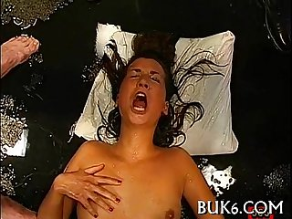Juicy oral sex with titty fuck