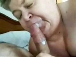 Horny granny loves facial amateur older