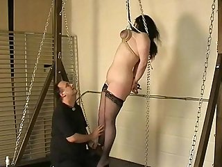 Amateur tit hanging torment and extreme breast bondage of chubby british slave