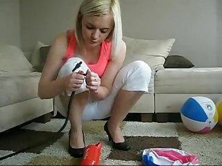 Sophie increasingly teasing with her fingers lingerie jeans and toys