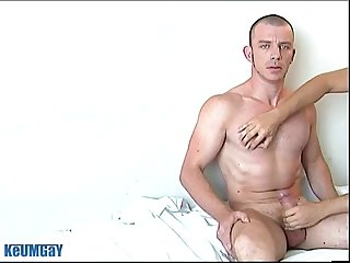 Keryan a sexy hunk french guy get wanked his huge cock by a guy