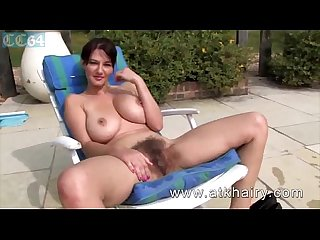 Super hairy curvy beauty at the pool spreading pussy and giving closeup views