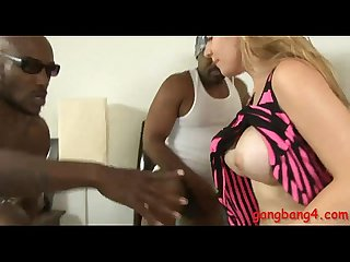 Booby blonde whore DP by huge black cocks on the bed